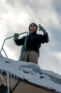 Seki Onsen Crew doing some roof shoveling