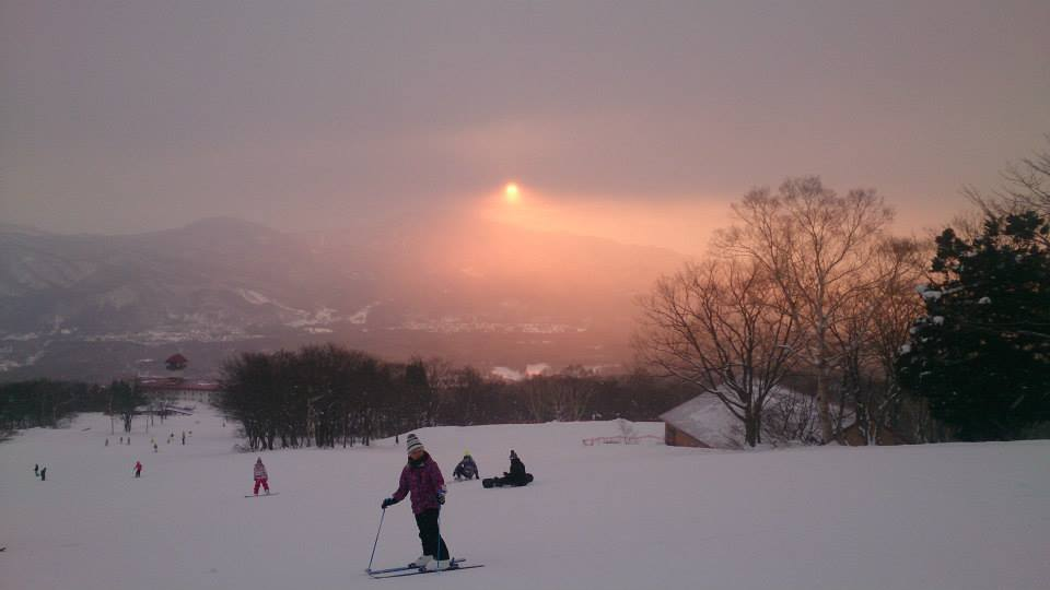 Dawn skiing at Akakan Resort in Myoko