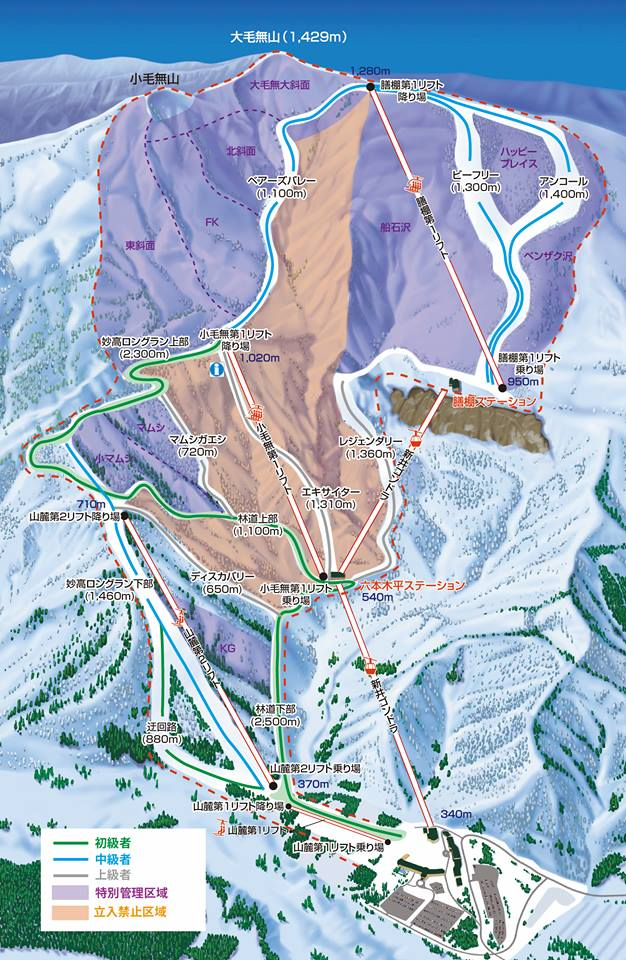 Lotte arai ski resort is opening in december 2017 with 5 ski lifts arai ski resort terrain map trail map arai japanese map pinkish areas are closed purple areas open gumiabroncs Image collections