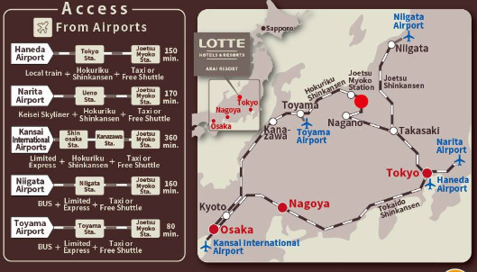 lotte arai resort map. getting to arai ski resort