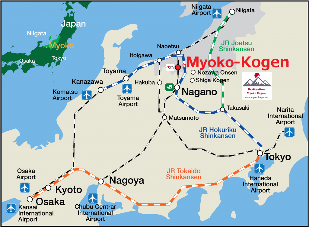 getting to myoko kogen, myoko transport map